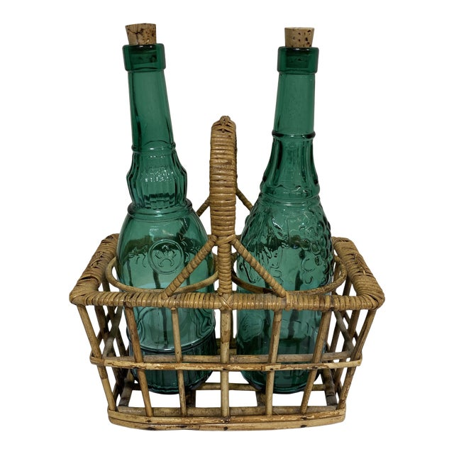Vintage Italian Wicker Vinegar & Oil Caddy For Sale
