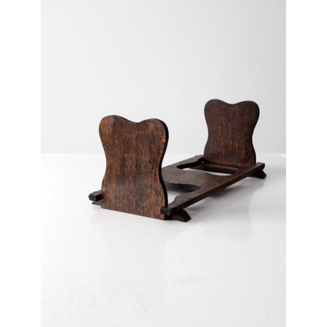 Antique Folding Wood Bookend Shelf - Image 2 of 6