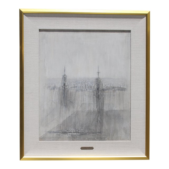 Italian Modernist Painting by Cesare Peverelli For Sale