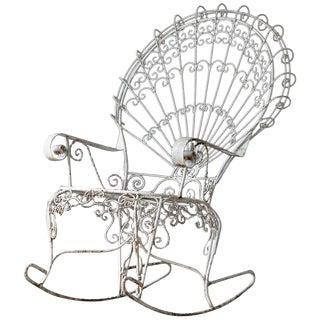 John Salterini Lawn Furnishing Wrought Iron Peacock Rocking Chair For Sale