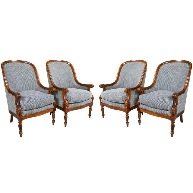 Pair Mahogany Empire style armchairs. The fabulous custom fabric with nail heads is a blue with white background. The...
