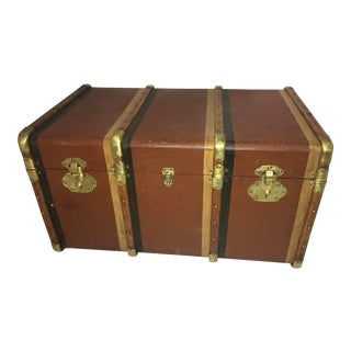 1940s Vintage English Trunk & Tray Brass Hardware For Sale