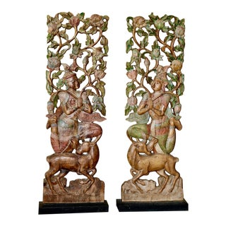 Indonesian Hand Carved Wood Panels - A Pair For Sale