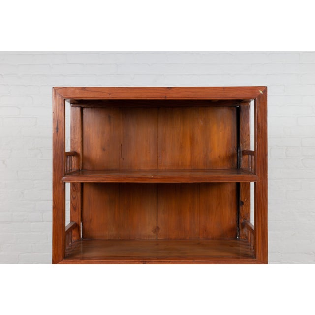 Brown Vintage Chinese Two-Part Elmwood Bookcase With Pillar-Shaped Strut Motifs For Sale - Image 8 of 13
