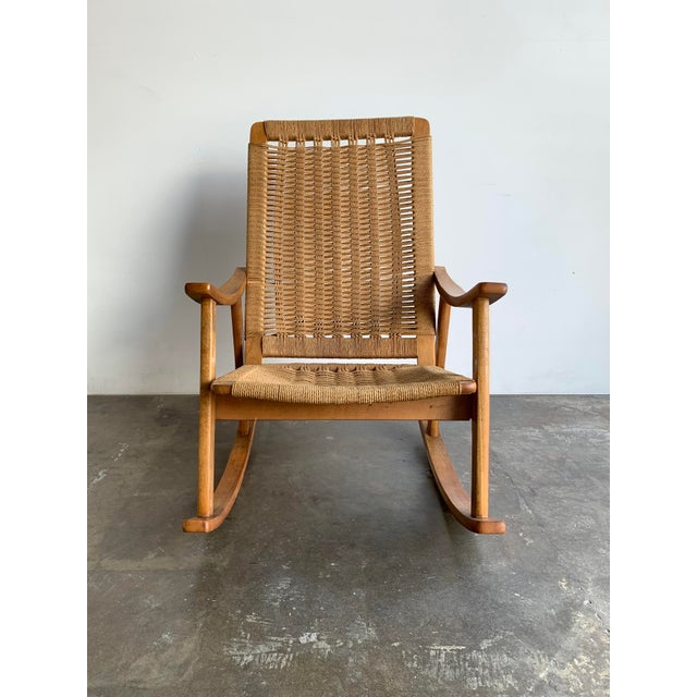 Mid Century Rope Rocking Chair For Sale In Los Angeles - Image 6 of 13