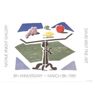 "David Hockney Apple, Grapes, Lemon on a Table 19"" X 25.5"" Poster 1989 Pop Art Multicolor Fruits For Sale"