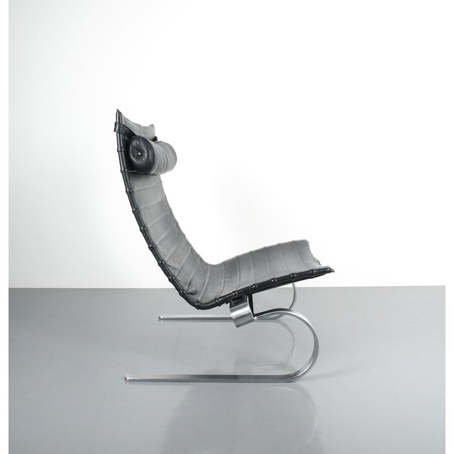 Metal Poul Kjærholm Early Fritz Hansen Pk20 Lounge Chair in Black Leather, 1987 For Sale - Image 7 of 12
