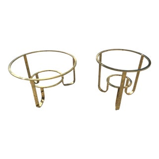 1970s Mid-Century Modern Two Tier Brass Plated Cantilever Coffee Tables - a Pair For Sale