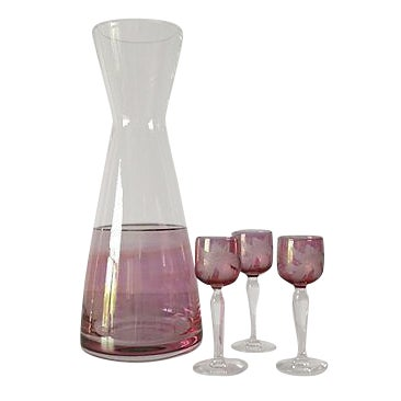 Czechoslovakian Wine Carafe & Cordials - Set of 4 For Sale