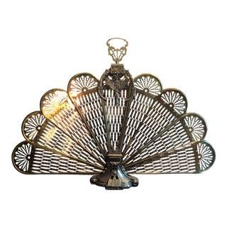 Vintage Brass Deco Fireplace Fan For Sale