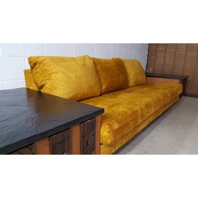 1970s Brutalist Lane Furniture 'Pueblo' Sofa W/ Attached End Tables For Sale - Image 9 of 13