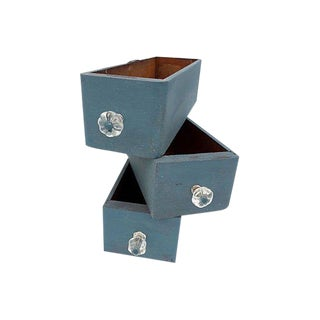Antique Victorian Shabby Cottage Blue Desk/Storage/Display Bins S/3 For Sale