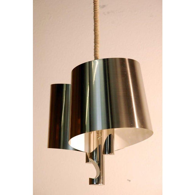 Modern Chic French, 1970s Polished Chrome Ribbon Chandelier by Maison Charles For Sale - Image 3 of 7