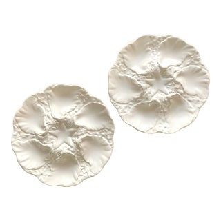 White Majolica Oyster Plates - a Pair For Sale