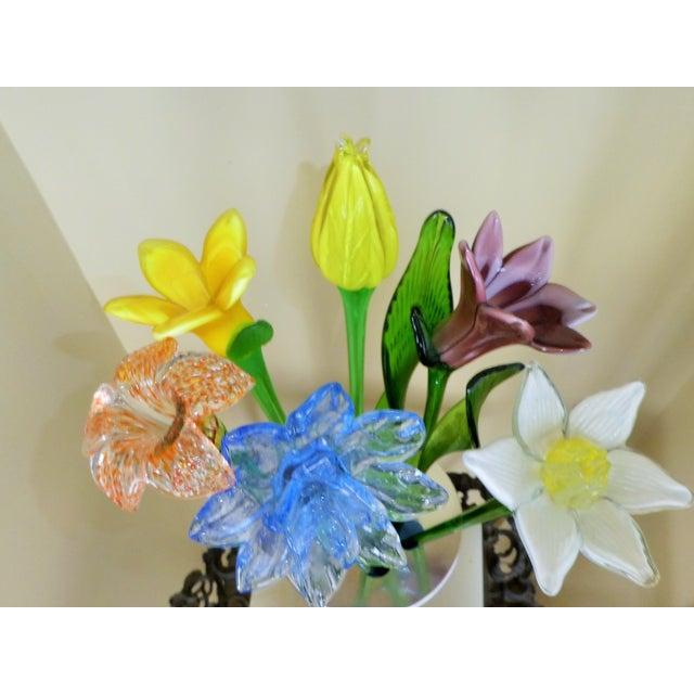 Handmade Fused Glass Flowers & Leaves in Vase | Chairish