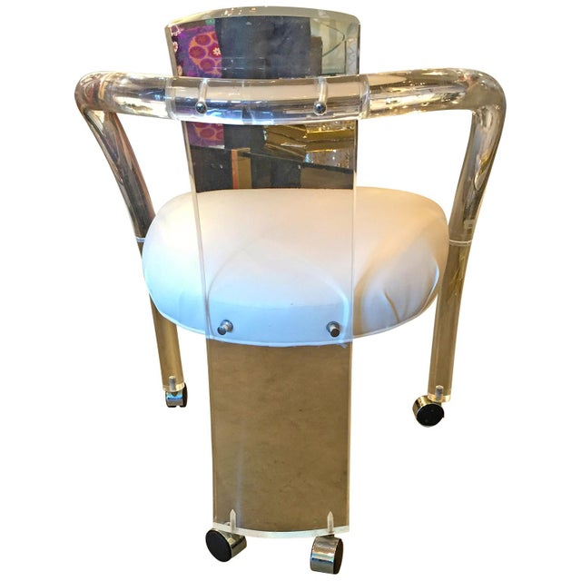 S/ 4 Mid Century Modern Charles Hollis Jones Lucite & White Leatherette Armchairs on Casters - Image 4 of 7
