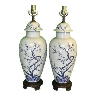 Vintage Chinoiserie Blue and White Lamps-Pair For Sale