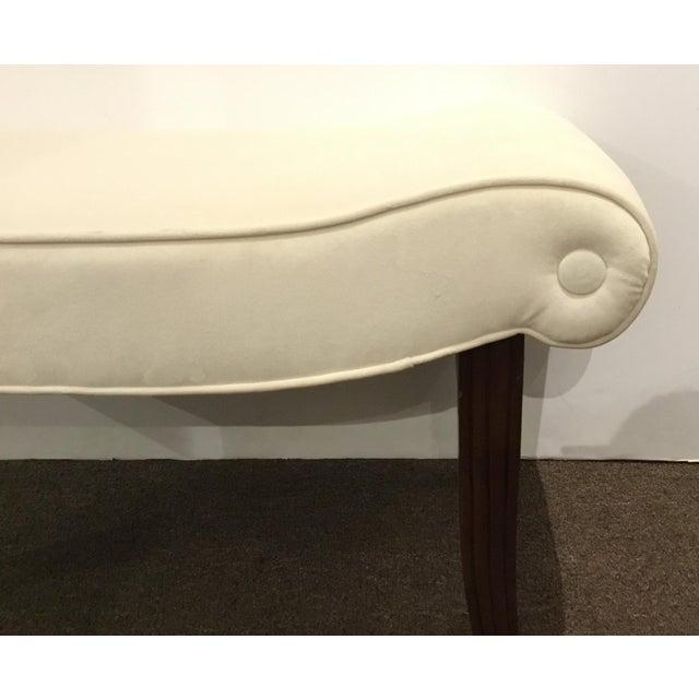 Stylish Transitional Hickory Chair White Velvet Calla Bench, tappered fluted wood legs, showroom floor sample, original...