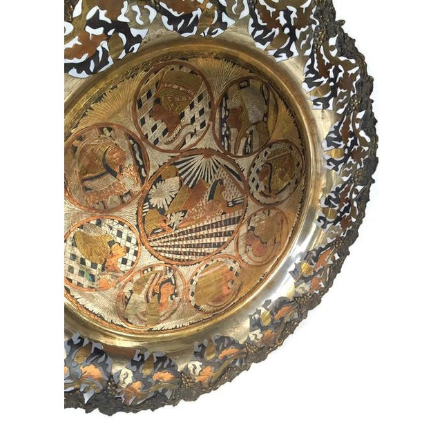 Vintage Pierced Metal Egyptian Platter or Wall Art - Image 2 of 6