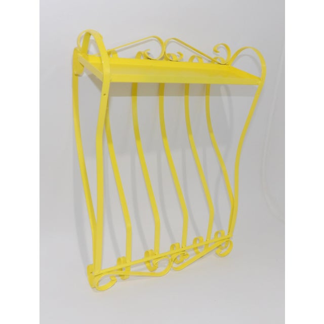 Antique Electric Yellow Wrought Iron Patio Shelf For Sale - Image 4 of 11
