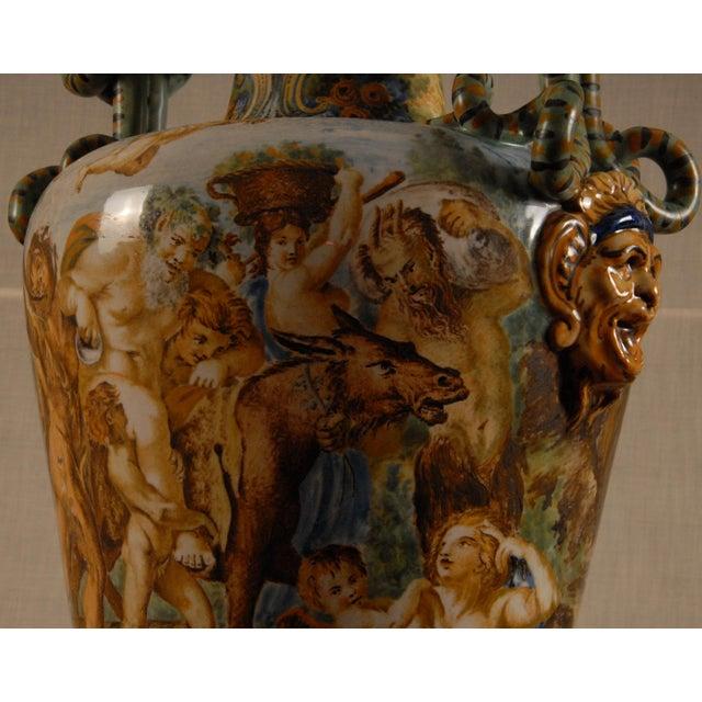 Italian Majolica Serpentine Handle Mythological Vase For Sale - Image 11 of 13