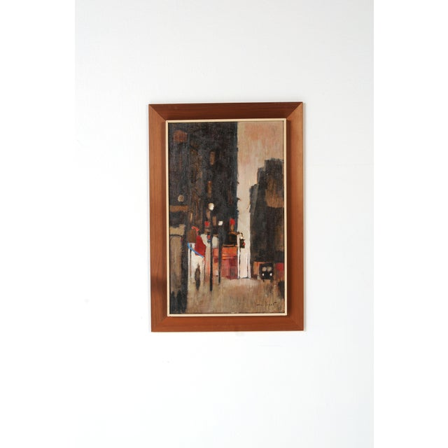 Mid-Century Framed Streetscape Painting For Sale In Chicago - Image 6 of 7