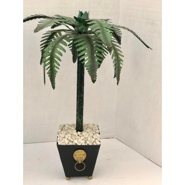 Green Hollywood Regency Tall Tole Painted Palm Tree Candlesticks Holders in Planters, A-Pair For Sale - Image 8 of 12