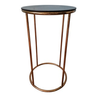 20th Century Hollywood Regency Glass Topped Brass Side Table