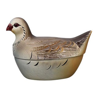 French Majolica Pigeon Pâté Tureen For Sale