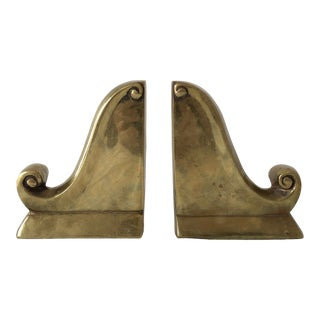 Mid 20th Century Vintage Brass Bookends - a Pair For Sale