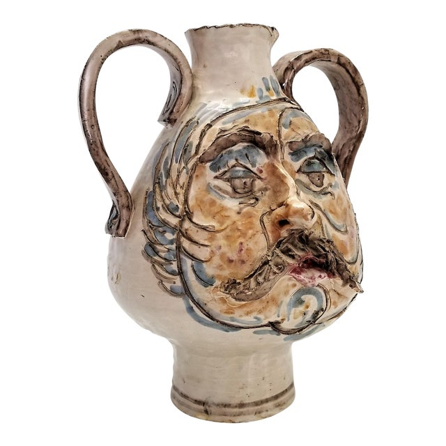 Large Italian Vintage 1960s Ceramic Amphora Studio Art Pottery Face