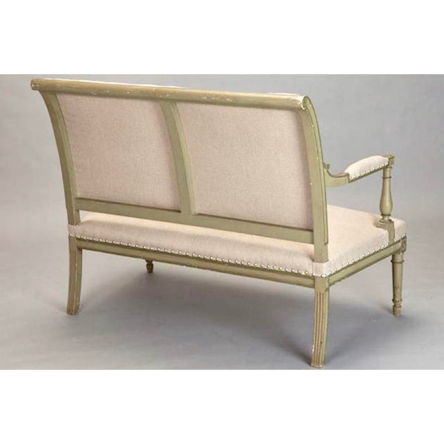 French Empire Style Painted Settee With Neutral Upholstery - Image 6 of 8