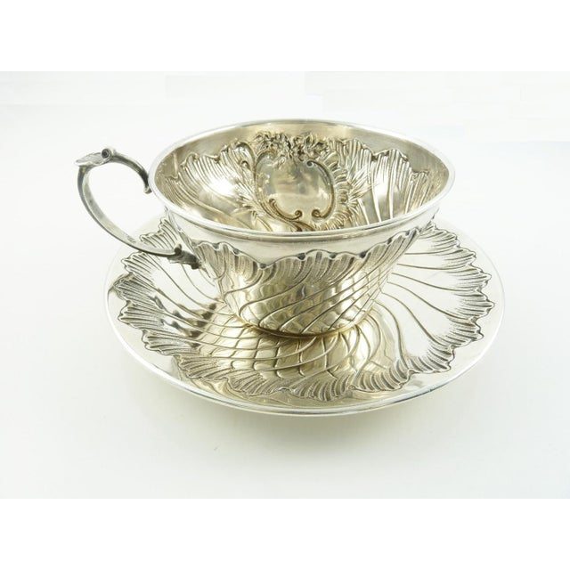 Rococo Antique French Sterling Silver Cup and Saucer by Ravinet & Denfert For Sale - Image 3 of 7
