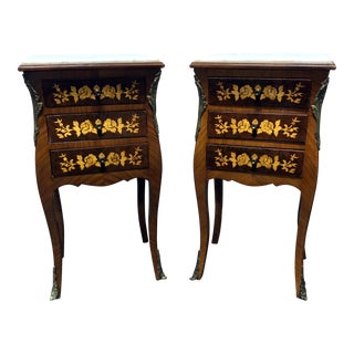 Petite French Provincial Louis XV Style Marquetry Inlaid Marble Top Nightstands - A Pair