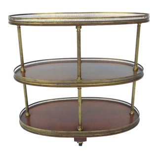 Regency Style Mahogany Serving / Drinks Cart on Casters Brass Gallery 3-Tier Vtg For Sale