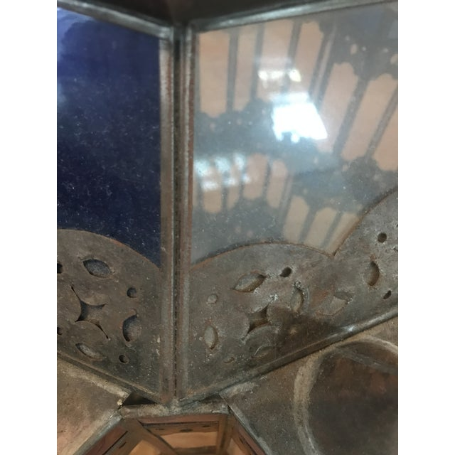 Blue 1960s Moroccan Brass and Cerulean Glass Lantern For Sale - Image 8 of 10