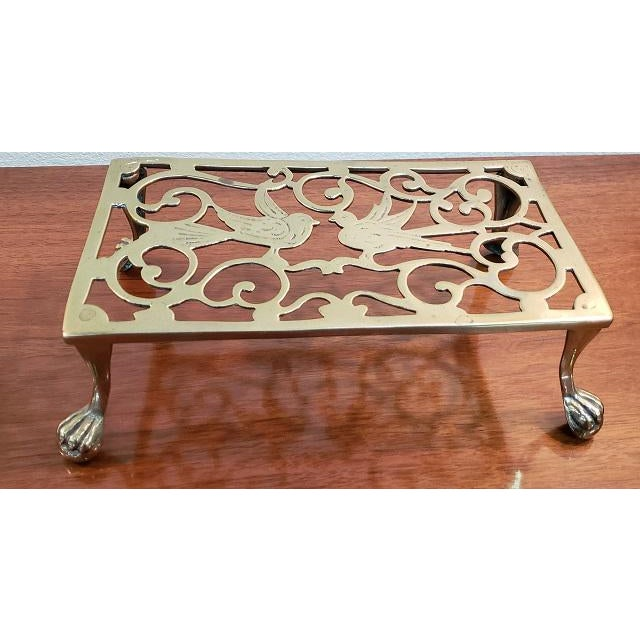 Item #DMC06 George III Style Brass Fireplace Trivet Lion Paw Feet - Beautiful Cast Brass Birds Great Stand for your Kettle...