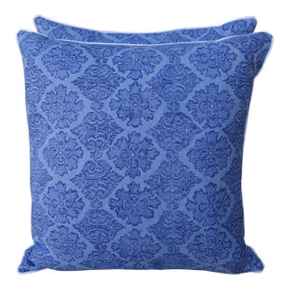 Raoul Blue Printed Linen Pillows - Pair
