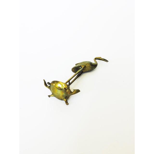 Vintage Brass Crane on a Tortoise - Image 5 of 5