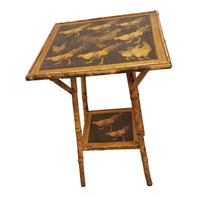 Antique Bamboo Table With Decoupage Roosters For Sale