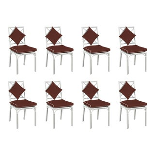 Haven Outdoor Dining Chair, Canvas Bay Brown with Canvas White Welt, Set of 8 For Sale