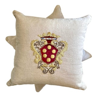 Red & Gold Embroidered Pillows With Family Emblems - a Pair For Sale