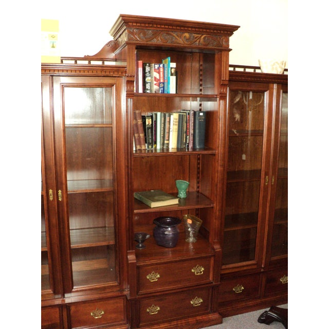 Brown Antique Cherry Bookcase Display Cabinet For Sale - Image 8 of 8