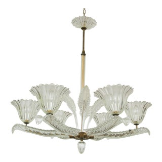 Italian Murano Six-Arm Chandelier by Barovier and Toso, Circa 1940 For Sale