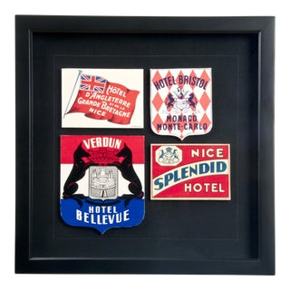 Framed French Hotel Luggage Labels For Sale