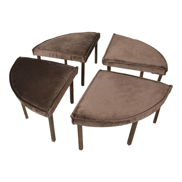 Mid-Century Modern Round Bench Stool Pizza Shape in Bronze and Velvet For Sale