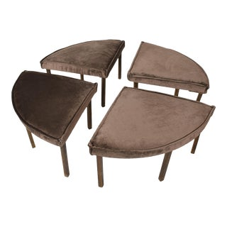 Mid-Century Modern Round Bench Stool Pizza Shape in Bronze and Velvet - Set of 4 For Sale