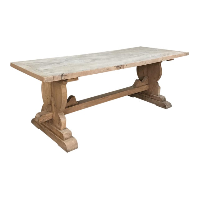 Trestle Dining Table, 19th Century Country French Provincial in Stripped Walnut For Sale