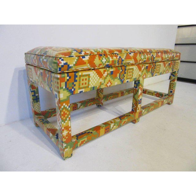 Textile Oil Cloth Upholstered Bench For Sale - Image 7 of 7