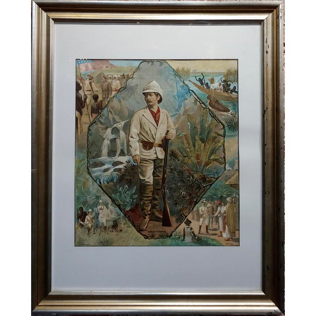 "Stanley In Africa looking for Livingstone-Original Silkscreen lithograph frame size 25 x 32"" paper size 17 x 19"" SIR HENRY..."